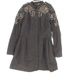 Free People Womens 10 Sergeant Coat Denim